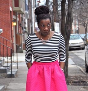 Pink circle skirt, black and white stripped shirt, denim jacket and scarf