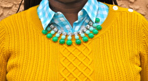 Turquoise number 2 pencil skirt, yellow sweater, aqua gingham blouse